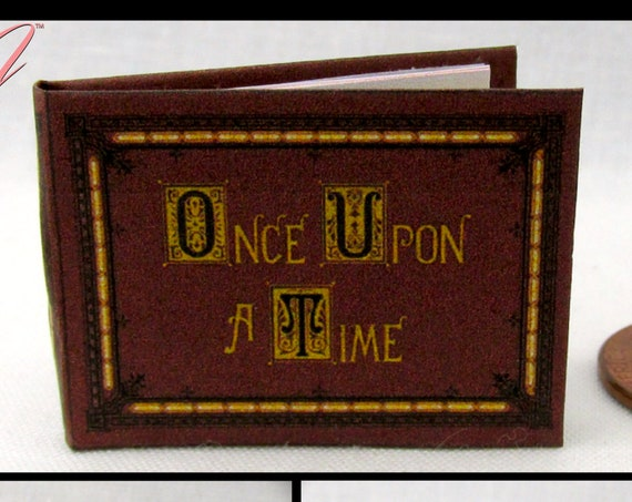 ONCE UPON A Time Book Of Fairy Tales 1:12 Scale Miniature Book Dollhouse 1 Inch Scale Book Cinderella Prince Charming Snow White Mad Hatter