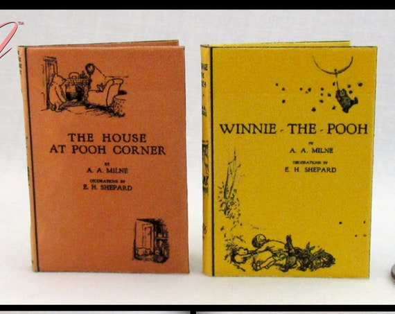 1:6 Scale WINNIE POOH Books Set of 2 Books Readable Illustrated Books Winnie the Pooh and House at Pooh Corner Blythe Barbie Scale