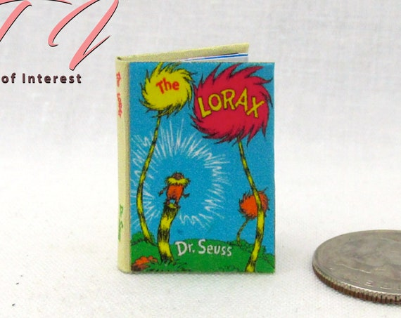 THE LORAX Miniature Book Illustrated Miniature Dollhouse 1:12 Scale Dr. Seuss Children's Story Book