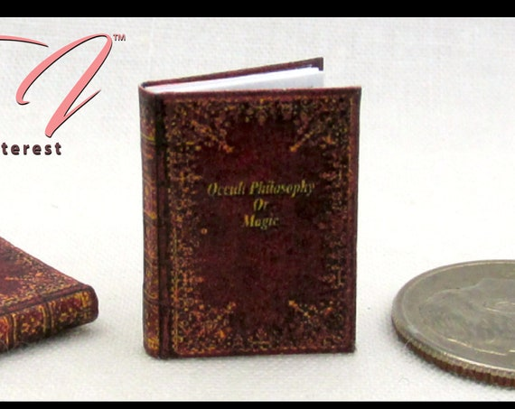 "BLACKWOODS OCCULT PHILOSOPHY Miniature Book 1:12 Scale 1"" Scale Illustrated Readable Sherlock Holmes Magic Potter Witch Gypsy"