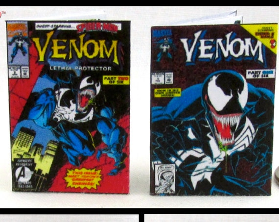 2 Miniature VENOM COMIC BOOKS Dollhouse Readable 1:12 Scale *2 For 1* Marvell Spider-Man Eddie Brock Carnage Mezco