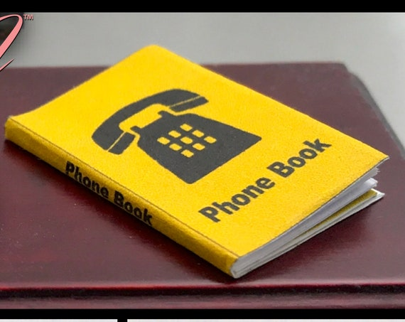 "PHONEBOOK 1:12 Scale Dollhouse Miniature Book 1"" Scale Telephone Directory White Yellow Pages Phone Numbers First Last Name Address Business"