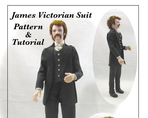 Dollhouse Doll JAMES VICTORIAN Man Doll Pattern Tutorial PDF Dressing Miniature Dollhouse 1:12 Scale Instant Download (Experienced)