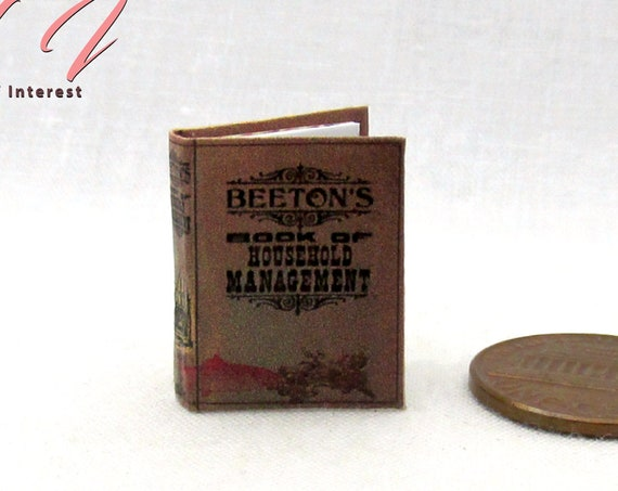 Mrs. BEETON'S Book Of HOUSEHOLD MANAGEMENT Miniature Book Dollhouse 1:12 Scale Readable Illustrated Book Victorian