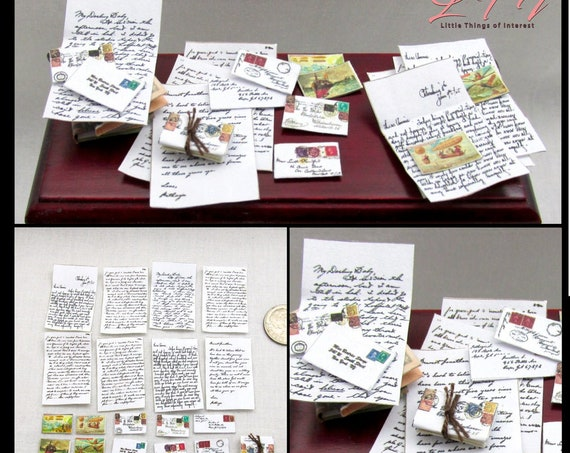 Miniature Dollhouse LETTERS, ENVELOPES & POSTCARDS 1:12 Scale Post Mail Postcard Desk Love Letters Printable Pdf Instant Digital Download