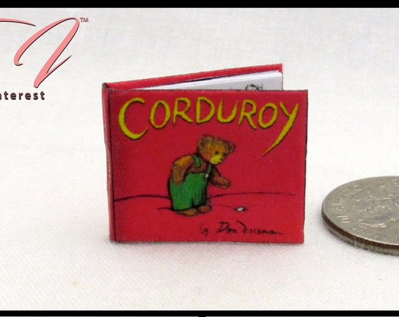 CORDUROY BEAR Miniature Book Dollhouse 1:12 Scale Readable Illustrated Book Toy Shelf Children's Story