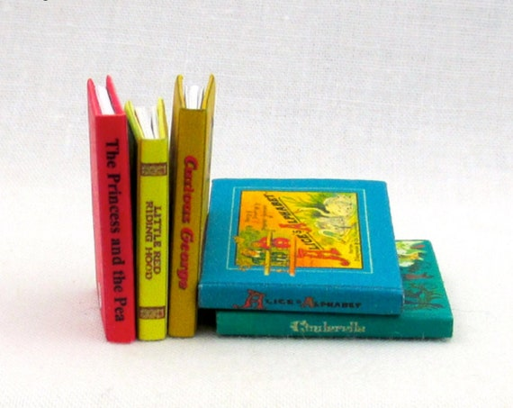MINIATURE BOOK Dollhouse 1:12 Scale Illustrated Readable Children's Alice's Alphabet Cinderella Curious George Red Riding Hood Princess Pea