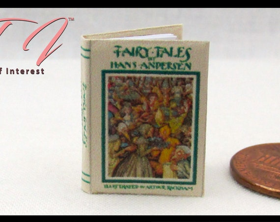 FAIRY TALES by Hans Andersen Miniature Book Dollhouse 1:12 Scale Illustrated Book Snow Queen Little Mermaid Children's Story Book