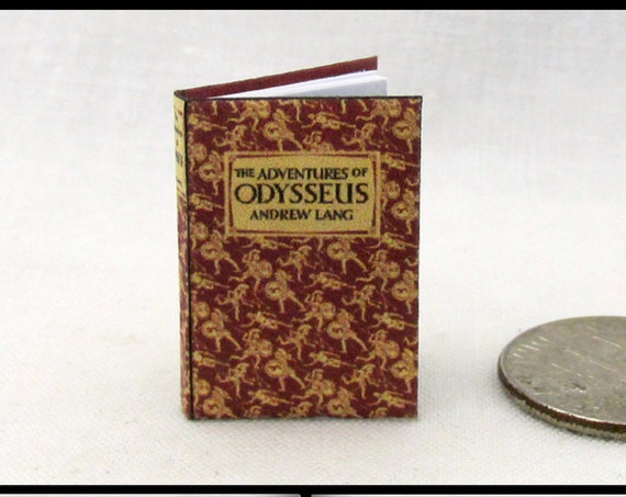 ADVENTURES  Of ODYSSEUS Illustrated by Andrew Lang Illustrated Dollhouse Miniature Book 1:12 Scale Readable Book Fall of Troy Home Ithaca