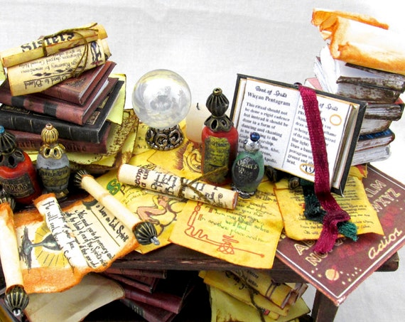 81 SPELL PAGES for Wizard Table PDF Dollhouse Doll Miniature Printie Dollhouse 1:12 Scale Magic Download Printable Fortune Teller Tarot.