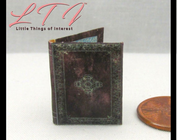 """BOOK OF INCANTATIONS Miniature Book Dollhouse Illustrated Book 1:12 Scale 1"""" Scale Spells Wizard Witch Fortune Teller Gypsy Potter Magic"""