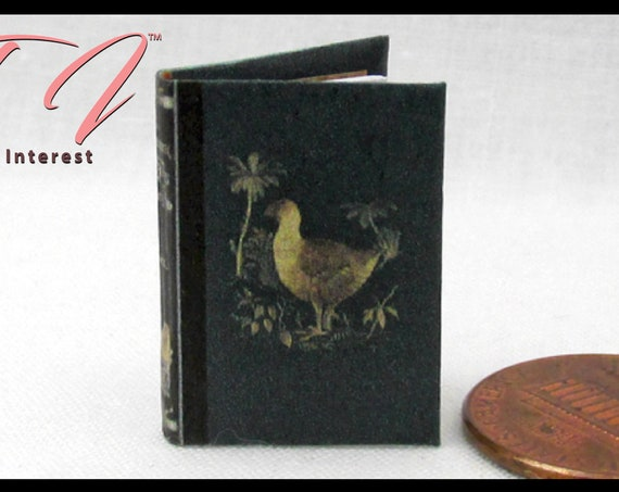 """A HISTORY of BIRDS Illustrated Readable Miniature Book Dollhouse 1:12 Scale 1"""" Scale Book Ornithology Zoology"""