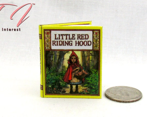 1:6 Scale LITTLE Red RIDING HOOD Illustrated Readable Book Wolf Grandma's House Fair Tale for Pullip Barbie Monster High Blythe Scale
