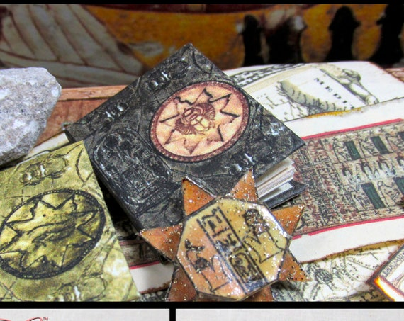 BOOK Of The DEAD Illustrated Miniature Book Dollhouse 1:12 Scale Black Book Wizard Witch Mummy Gypsy Potter Magic Spells Ancient Egypt