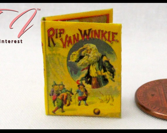 RIP VAN WINKLE Illustrated Readable Miniature Book Dollhouse 1:12 Scale Book Sleep Time Fairy Tale Children's Story Book
