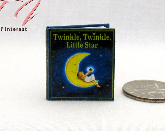TWINKLE Twinkle LITTLE STAR Readable Illustrated Miniature Book Dollhouse 1:12 Scale Book