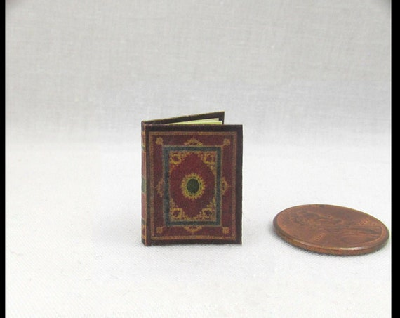 MEDIEVAL ILLUMINATED Book of Hours Miniature Book Dollhouse 1:12 Scale Readable Illustrated Book Prayer Latin Devotional Book