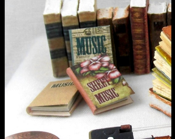 MUSIC LESSONS Book Set of 3 Readable Miniature Dollhouse 1:12 Scale Book Instruments Guitar Instruct
