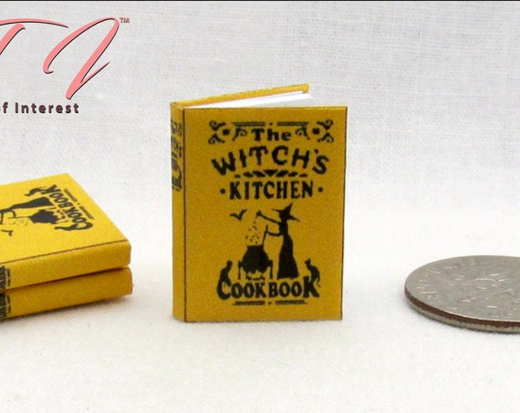 WITCHES KITCHEN COOKBOOK Miniature Book Dollhouse Book 1:12 Scale Illustrated Readable Book Tiny Food