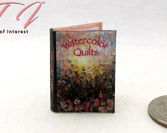 WATERCOLOR QUILTS Color Illustrated Miniature Dollhouse 1:12 Scale Book Sewing Crafts Mending Needle Scissors Fabric Stitch
