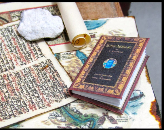 EGYPTIAN ARCHEOLOGY Miniature Dollhouse Book 1:12 Scale Illustrated Readable Papyrus Scroll School Ancient Geography Egypt Pyramid Pharos.