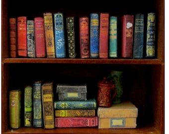 "21 DUSTY OLD BOOKS Miniature Books Dollhouse 1:12 Scale 1"" Scale Prop Fill a Bookshelf Faux Books Library #2 #miniaturebooks"