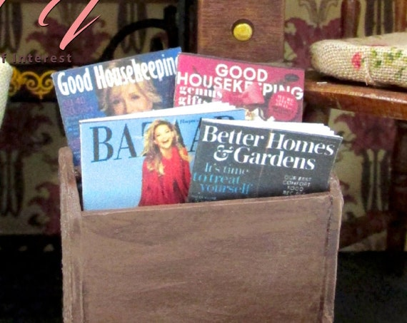 "4 WOMEN'S MAGAZINES Miniature Dollhouse 1:12 Scale 1"" Scale PROP Faux Newstand Ladies Bazaar Good Housekeeping Better Homes Garden"
