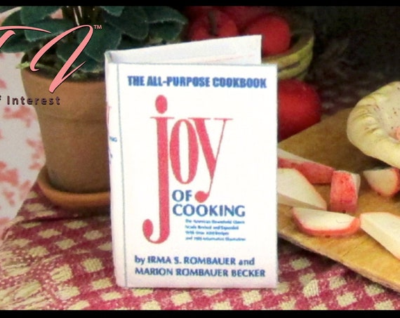 THE JOY Of COOKING Miniature Book Dollhouse Book 1:12 Scale Cookbook Cook Kitchen Food Tiny Food #DollsandMiniatures #scalebooks #mini