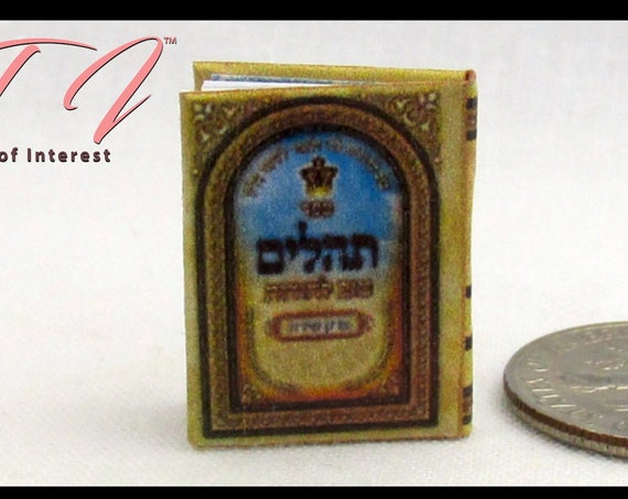 "The JEWISH HEBREW Book of PSALMS Miniature Book Dollhouse 1:12 Scale 1"" Scale Readable Book Tehillim"