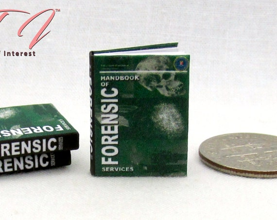 FBI FORENSIC SCIENCE Book Miniature Book 1:12 Scale Dollhouse Book Crime Analyst Scientific Evaluations Biological Evidence Mystery
