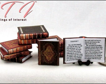 OLD LIBRARY BOOKS Set of 10 Download Pdf Prop Book and Construction Tutorial for a Miniature Printable 1:12 Scale Book