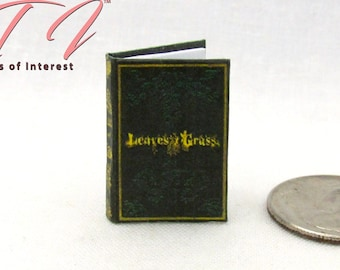 LEAVES OF GRASS Miniature 1:12 Scale Illustrated Readable Book Walt Whitman Poetry