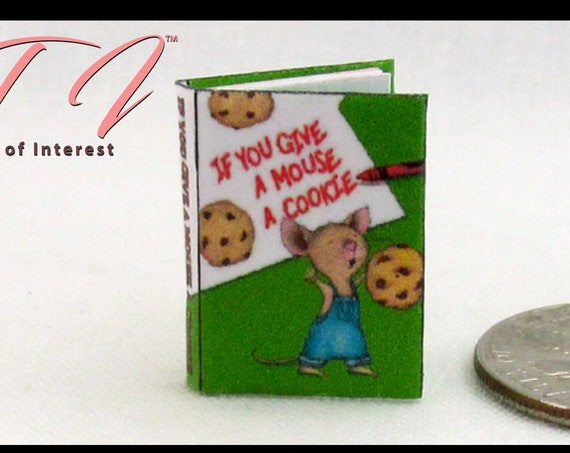 If YOU GIVE A Mouse A Cookie Miniature Book Dollhouse 1:12 Scale Color Illustrated Book Children's Book