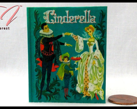 CINDERELLA Illustrated Book in 1:3 Scale Readable Book American Girl Doll Book 18 inch AG Doll 1/3 Scale Glass Slipper Fairy Godmother