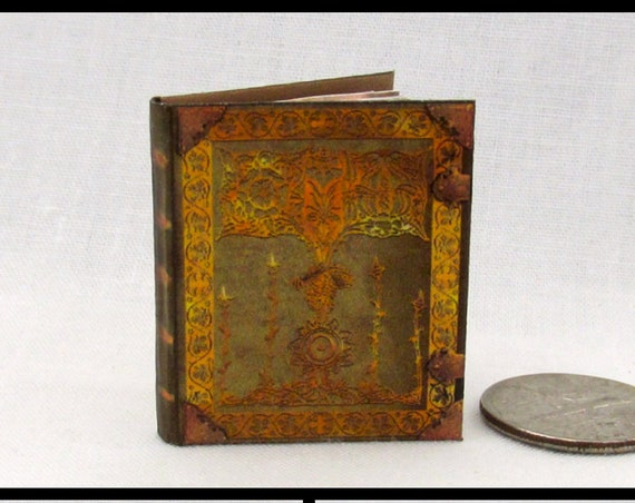 ENCANTUS MAGICAL TEXTBOOK Miniature Book Dollhouse 1:12 Scale Illustrated Book Disney Sorcerer's Apprentice Wizard Witch Fortune Teller