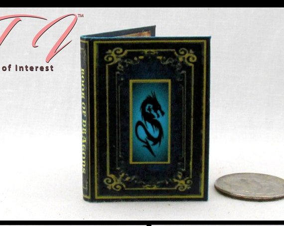 BOOK OF DRAGONS 1:6 Scale Book Illustrated Readable Miniature Book Blythe Momoko Pullip Barbie Phicen Scale Potter Magic Wizard Witch 1/6.