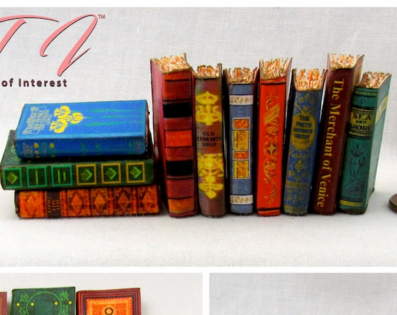 1:6 Scale VINTAGE STYLE BOOKS Set of 10 Prop Books Miniature Book Play Scale Faux Books Monster High Fashion Dolls Blythe Pullip Barbie