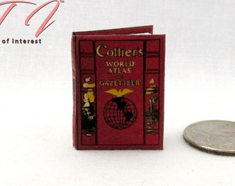 Miniature Novel Idea World Atlas w//Embossed Cover for DOLLHOUSE 1:12 Scale