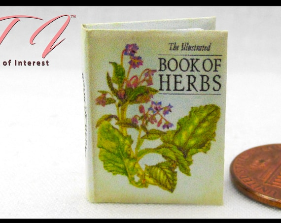 The ILLUSTRATED BOOK Of HERBS Miniature Book Dollhouse 1:12 Scale Botanical Plants Guide