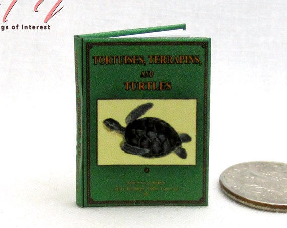 TORTOISES AND TURTLES Dollhouse Miniature Book 1:12 Scale Testudines Reptiles Land Water Ocean Sea Natural History