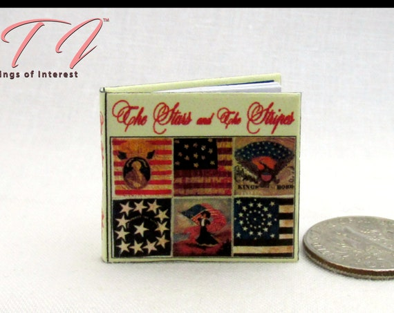 The STARS And The STRIPES Dollhouse Miniature Book 1:12 Scale Illustrated Book The Story of the American Flag United States