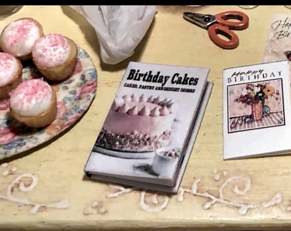 """The BIRTHDAY CAKE COOKBOOK Miniature Book Dollhouse 1:12 Scale 1"""" Scale Readable Desserts Recipes Kitchen Baking Decorate Candles Tiny Food"""