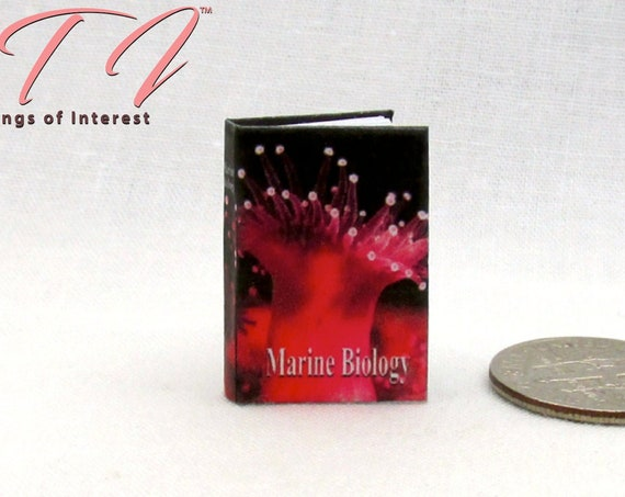 MARINE BIOLOGY Miniature Book Dollhouse 1:12 Scale Readable Illustrated Book Ocean Sea Science Biological Oceanography