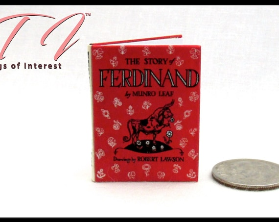 THE STORY Of FERDINAND in 1:6 Scale Readable Illustrated Miniature Book Flowers Bull Fights Spain  Children's Story Blythe Pullip Barbie