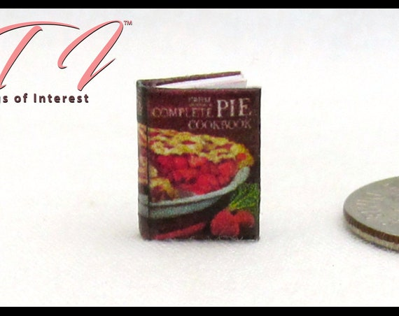 "1:24 Scale COMPLETE PIE COOKBOOK Miniature Book Dollhouse 1/2"" Scale Dollhouse Illustrated Book Half Inch Kitchen Tiny Food"
