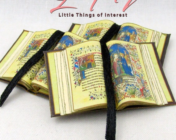 Open Book MEDIEVAL Illuminated BOOK Of HOURS Miniature Book Dollhouse 1:12 Scale Illustrated Prayers Bible Religion
