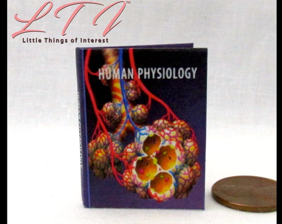 HUMAN PHYSIOLOGY 1:6 Scale Readable Illustrated Miniature Book Medical Textbook Doctor Health Medical Nurse Biology Human Body Play Scale