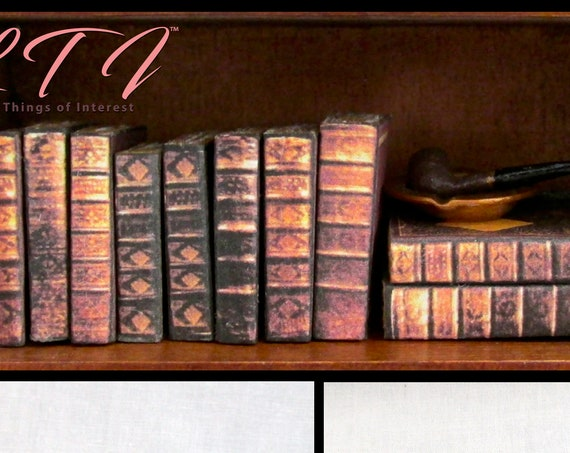 10 OLD LIBRARY Miniature Books Set 1:12 Scale Dollhouse Prop Faux Books Fill a Bookshelf Library Books
