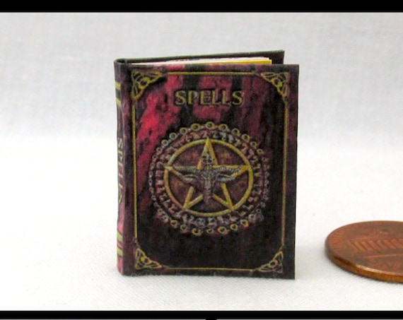 BOOK of SHADOWS Magic Spell Book Miniature Book Dollhouse 1:12 Scale Illustrated Book Wizard Witch Fortune Teller Gypsy Potter Rituals
