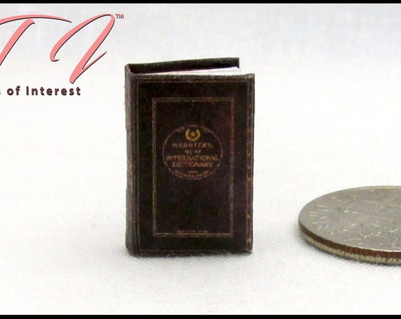 "1:24 Scale WEBSTER'S DICTIONARY Miniature Book Dollhouse 1/2"" Scale English Words Definitions Pronunciation"